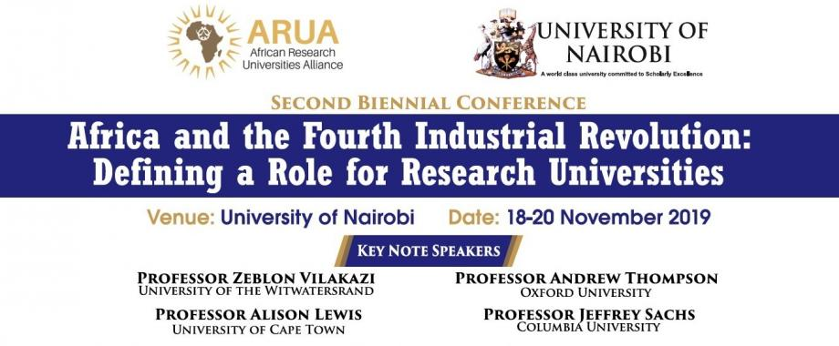 ARUA 2nd Biennial Conference: Africa and the 4IR, 18th to 20th November 2019, University of Nairobi, Kenya