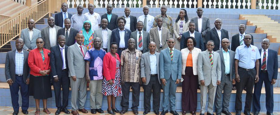 The DVCAA-Dr. Umar Kakumba (6th R), Director DRGT-Prof. Buyinza Mukadasi (4th R) with participants at the Inaugural Deans' Workshop held on 14th June 2019, Hotel Africana, Kampala Uganda