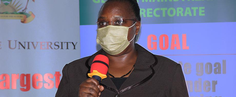 The Director, Gender Mainstreaming Directorate (GMD) and Project PI, Dr. Euzobia Mugisha Baine presenting the project findings on 14th September 2021, CTF1, Makerere University.