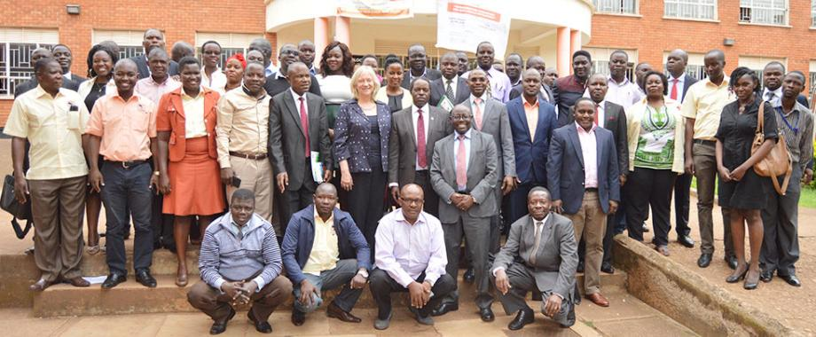 Christina Malmberg Calvo - World Bank Country Manger (Centre) on her left is the Principal - College of Business Management Sciences. Prof. Eria Hisali and on her right is Deputy Vice Chancellor Prof. Willima Bazeyo in a group photo with other participants after the launch of Mak Public Infrastructure Management Consortium on 22nd June 2018 at the College of Business Management Sciences.
