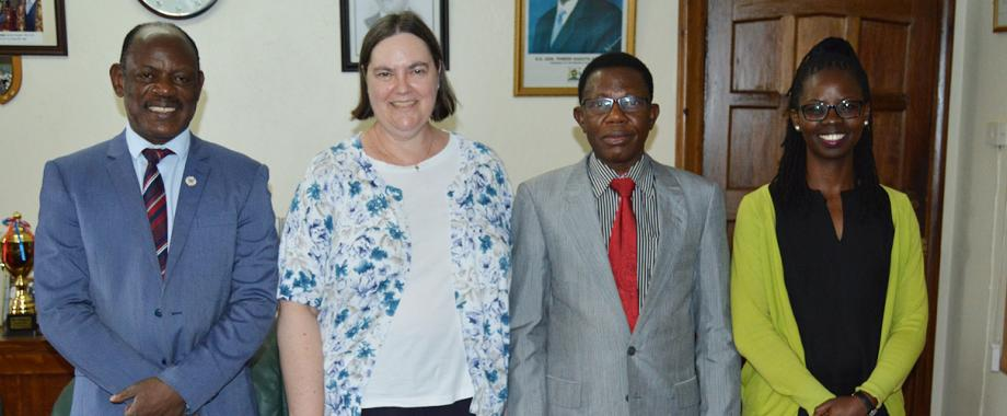 [L-R] Vice Chancellor - Prof. Barnabas Nawangwe , Ms Andrea Johnson - Program Officer for Higher Education in Africa at Carnegie Corporation NY, Prof. Mukadasi Buyinza - Director of Research and Graduate Training (DRGT) and Ms Angela Asio- Carnegie Program Administrator at DRGT after a meeting in the Vice Chancellor's Office on 18th October 2018.
