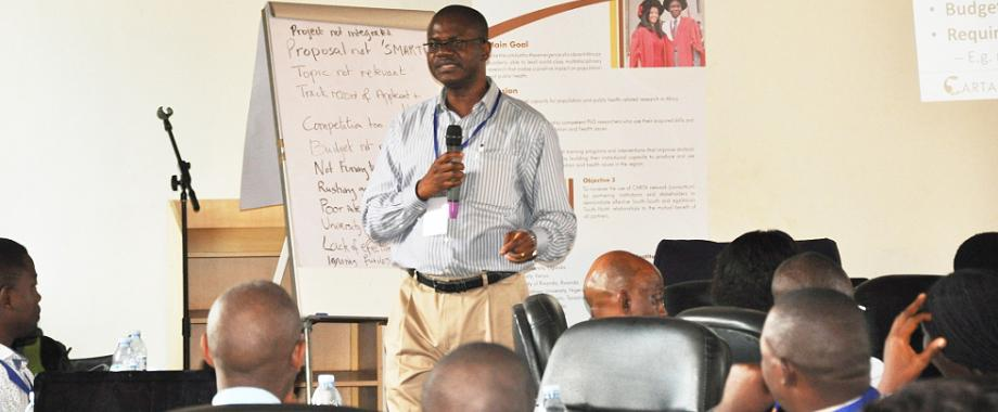 Dr. Alex Ezeh, Executive Director, APHRC, Kenya makes his presenatin on Identifying sources of funding for research during the CARTA Capacity Building Workshop, 22nd July 2014, Makerere University, Kampala Uganda