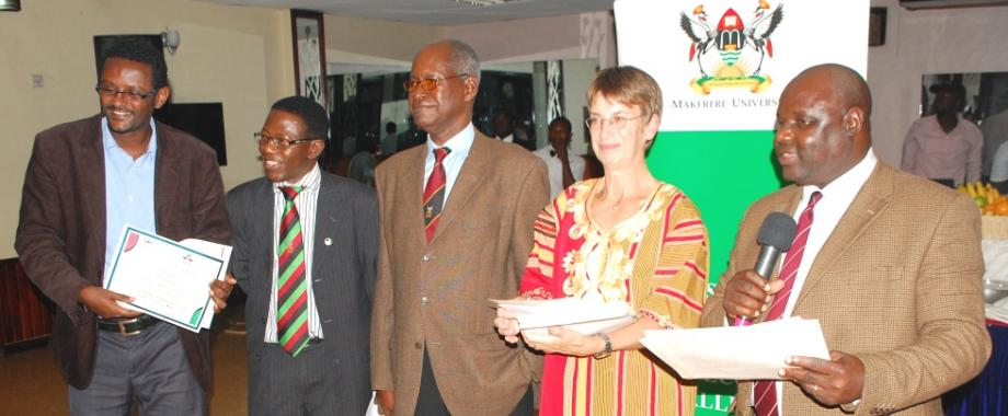 L-R: Mr. Melaku-Doctral Student, Prof. Mukadasi Buyinza-Director DRGT, Prof. Elly Sabiiti-CAES, Prof. Lotta Hansson-SLU Global and Prof. George Nasinyama-DDR DRGT at the Innovative Doctoral Training Certificate Award Ceremony, 5th September 2014, Hotel Africana, Kampala Uganda