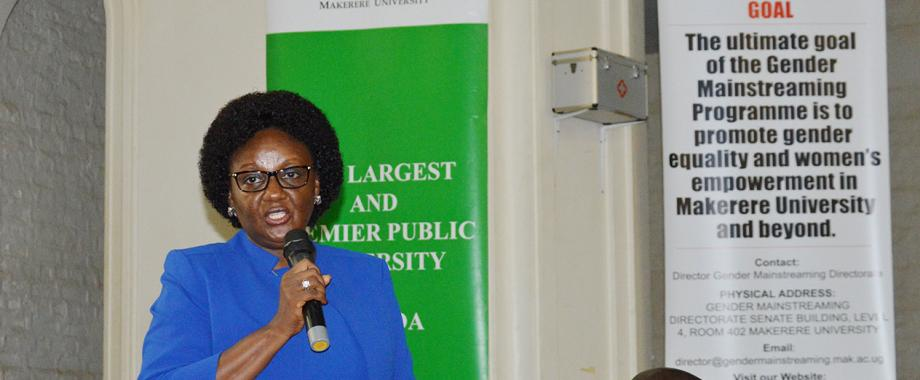 The Dean, School of Public Health and Chairperson Select Committe on Gender Equity at Mak Prof. Rhodah Wanyenze presenting the Gender Equity Report at a stakeholders validation meeting in Main Hall on 17th April 2019.