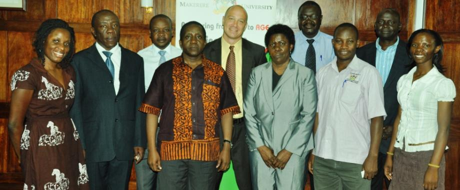 Dr. Jon Rezek, Associate Vice-President; International Programs, MSU (C) and Professor Margaret Khaitsa, MSU (5th R) with Principals and College Representatives during the MSU Visit to Makerere University on 11th April 2014