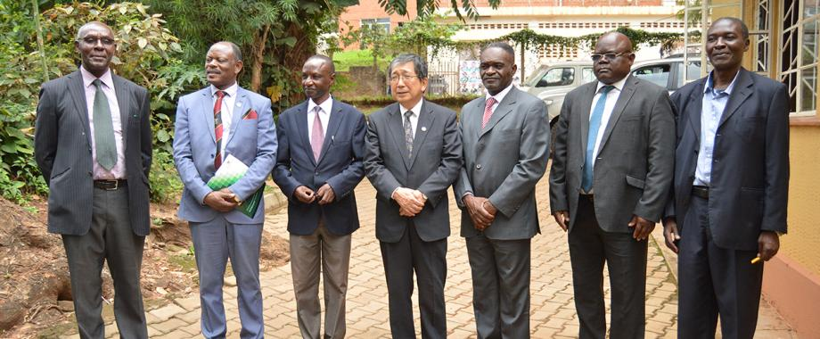The Ambassador of Japan to Uganda, H.E. Kazuaki Kameda (Centre) with L-R:  Prof. Oswald Ndoleriire, Vice Chancellor-Prof. Barnabas Nawangwe,  Prof. Dominic Byarugaba, Patrick A. Wakhu, Dr. Bitek Titus Watmon and Dr. Benson Odongo after his courtesy visit to the AICAD Uganda Country Office, Makerere University on 17th April 2019.