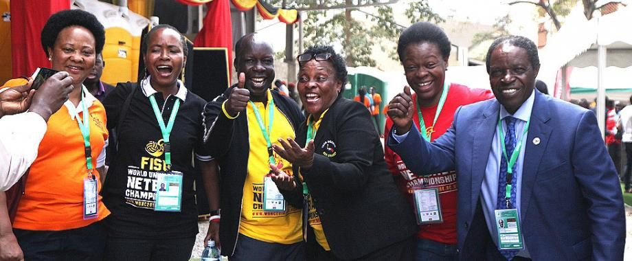 R-L: DVCFA-Prof. William Bazeyo, Director Estates-Eng. Christina Kakeeto, Hon. Chair Convocation-Dr. Tanga Odoi, 1st Vice Chair WUNC-Dr. Sarah Ssali and Netball She Cranes Manager-Jocelyn Ucanda celebrate Uganda's draw with defending champions South Africa in Game19 of the 3rd FISU WUNC2018. Uganda made history by hosting and winning WUNC2018 in the Makerere University Sports Arena on 21st September 2018, Kampala Uganda