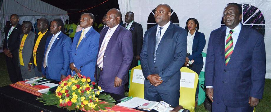 R-L: Chairperson Council-Eng. Dr. Charles Wana-Etyem, FISU Representative-Mr. Liberty Maidza, Chief Guest-Hon. Charles Bakkabulindi, Vice Chancellor-Prof. Barnabas Nawangwe, DVCFA-Prof. William Bazeyo, Chair Convocation-Dr. Tanga Odoi, Chair MUASA-Dr. Deus Kamunyu Muhwezi and University Secretary-Mr. Charles Barugahare at the 3rd FISU WUNC Opening Ceremony, 17th September 2018, Freedom Square, Makerere University, Kampala Uganda