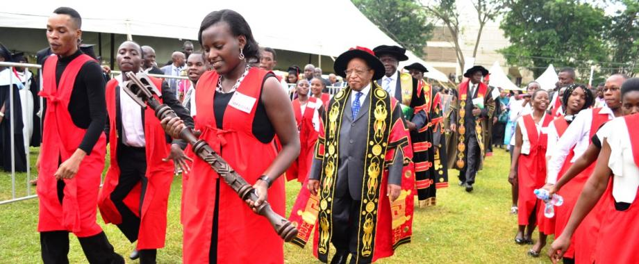 The Chancellor-Prof. Ezra Suruma (Centre in Gown) leads the Academic Procession out of the Freedom Square after presiding over his first Graduation Ceremony on 20th January 2016, Makerere University, Kampala Uganda
