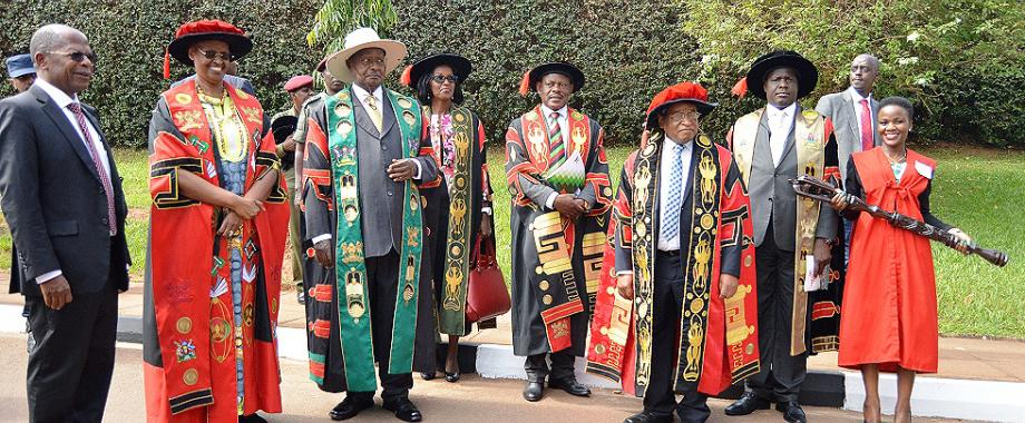 The President of the Republic of Uganda and Visitor of Makerere University-H.E. Yoweri Kaguta Museveni (3rd L), First Lady-Hon. Janet Kataaha Museveni (2nd L), Hon. Dr. John Chrysostom Muyingo (L), Chancellor-Prof. Ezra Suruma (3rd R), Chairperson Council-Mrs. Lorna Magara (C), Vice Chair-Rt. Hon. Daniel Fred Kidega (2nd R), Vice Chancellor-Prof. Barnabas Nawangwe (4th R) and the Mace bearer (R) on Day1 of the 69th Graduation Ceremony. President Museveni received Mak's Outstanding Scholarly Authorship Award