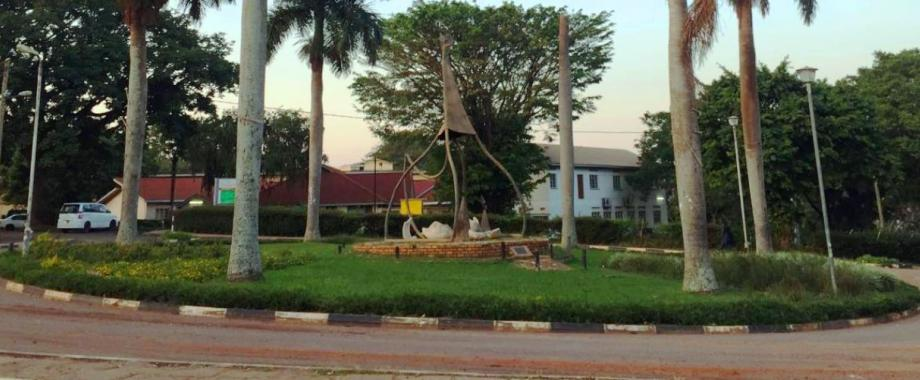 The 75th Anniversary Monument at the College of Natural Sciences-School of Statistics roundabout as seen on 21st December 2016, Makerere University, Kampala Uganda