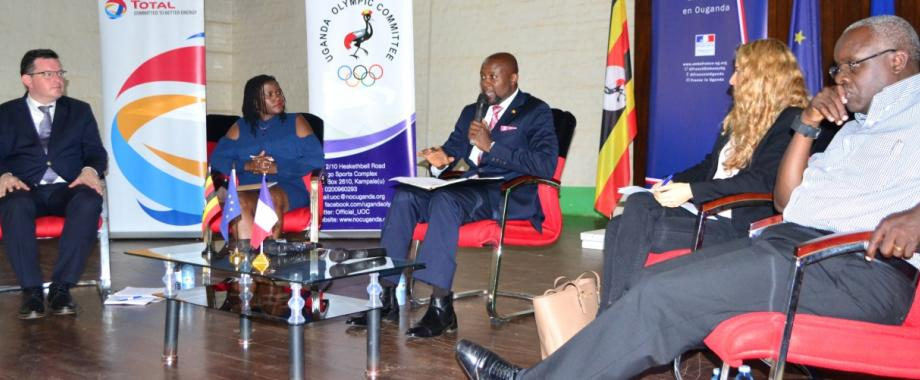 R-L: Vision Group CEO-Mr. Robert Kabushenga, Panelist-Ms. Cyrielle Hariel, Moderator-Mr. Samson Kasumba, Panelist-Ms. Rosebell Kagumire and Panelist-Mr. Olivier Zegna Rata at the Academics Day, Uganda-France Friendship Week, 22nd March 2017, Makerere University, Kampala Uganda