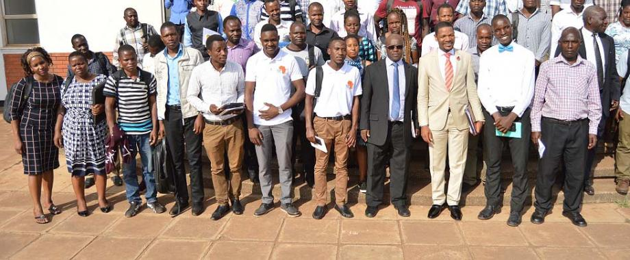 Dr. Richard Munang-UN Environment Regional Climate Change Programme Coordinator for Africa (3rd R), Dr. Revocatus Twinomuhangi (4th L) with members of staff and students who attended the public lecture delivered by the former on 8th February 2018, at the SFTNB Conference Hall, Makerere University, Kampala Uganda.
