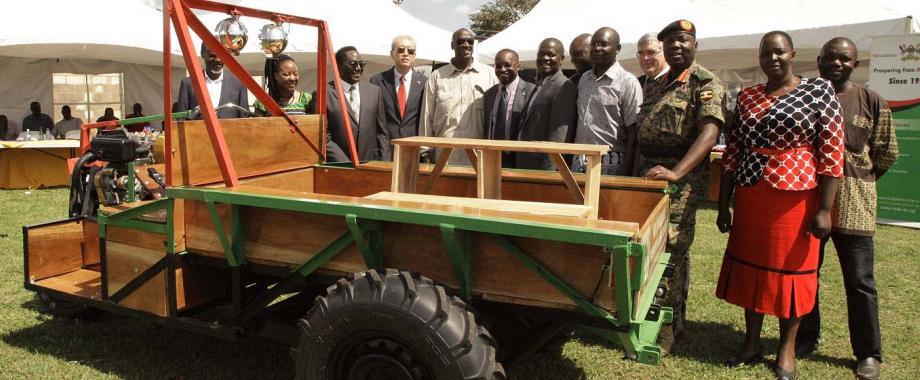 L-R: Mr. Kaddu Kiberu-Peacock Paints, Dr. Goretti Nabanoga-Dep. Principal CAES, Prof. John Ddumba-Ssentamu-VC, H.E. Amb. Zhao Yali, Gen. Salim Saleh, Prof. John Muyonga-Dean SFTNB, Prof. Noble Banadda-Principal Investigator alongside other dignitaries at the MV Mulimi Launch, 31st December 2015, MUARIK, Makerere University, Wakiso Uganda