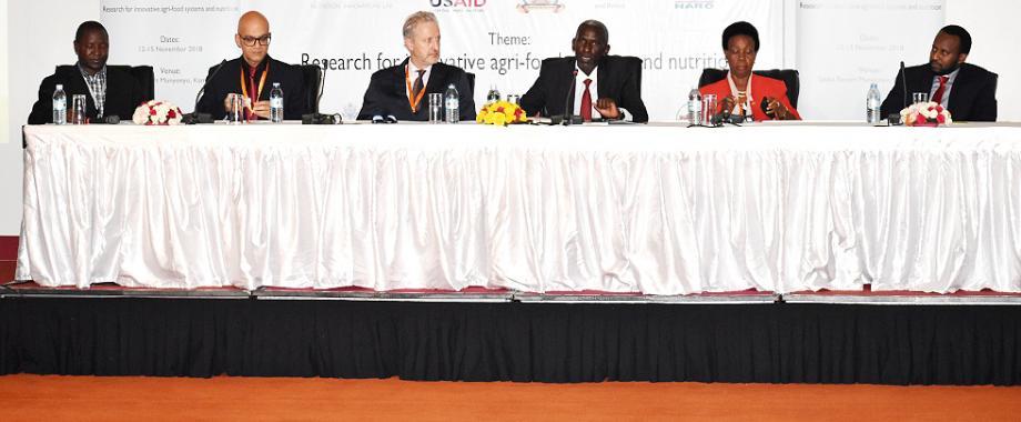 L-R:  Dr. Daniel Waiswa (Mak), Dr. Ahmed Kablan (USAID), Prof. Patrick Webb (Tufts University), Dr. Yona Baguma (NARO and Session Chair), H.E. Rhoda Tumusiime and Edgar (WFP) during the opening session on Day2 of the NARO-Mak Conference, 13th November 2018, Kampala Uganda