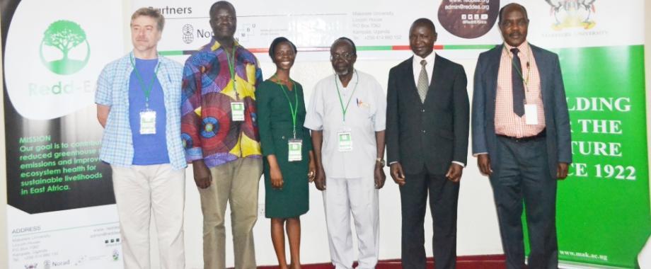 L-R: Prof. Doglous Shiel-Co-Principal Investigator REDD-EA, Prof. John Tabuti-Principal Investigator REDD-EA, Ritah Namisango-Senior PRO, Prof. Hannington Oryem-Origa-Chair NIDIC NORHED Programme, Dr. Daniel Waiswa-Coordinator Graduate Studies CAES and Prof. Pius Yanda-University of Dar-es-Salaam at the launch of the Dissemination Workshop, 16th November 2017, Kolping Hotel, Kampala Uganda