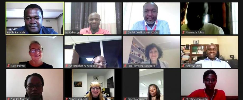 Prof. Noble Banadda (Top Left) with stakeholders from Mak, MWE, NWSC, KCCA, Rhodes University, University of Sheffield and Lancaster University during the virtual RESBEN country meeting, 5th February 2021.