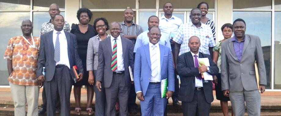 Vice Chancellor-Prof. Barnabas Nawangwe (3rd R) with the Principal-Prof. Bernard Bashaasha to his left and other CAES members of staff after the interaction with University Management on 20th March 2018, SFTNB Conference Hall, Makerere University, Kampala Uganda. Prof. Nawangwe described CAES as a model college, thanks to its research output and work done to uplift the profile of Makerere.