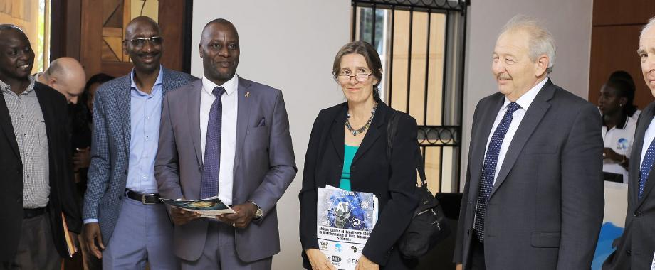 L-R: Prof. Moses Joloba, Dr. Abdoulaye Djimdé, IDI ED-Dr. Andrew Kambugu, US Deputy Chief of Mission in Kampala-Ms. Colette Marcellin and Mr. Michael Tartakovsky at the ACE in Bioinformatices and Intensive Data Sciences launch on 21st March 2019, IDI-McKinnell Knowledge Centre, Makerere University, Kampala Uganda
