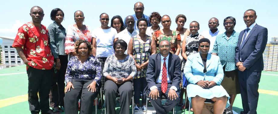 Prof. Anthony Mugisha (Seated 2nd R) with other Facilitators and Gender Champions that birthed the OHCEA Gender Network, 14th March 2016, Holiday Inn, Dar es Salaam, Tanzania