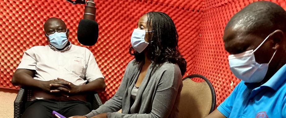 L-R: Dr. Misaki Wayengera-MoH-National COVID Taskforce, Dr. Gloria Seruwagi-REFLECT Study PI and Mr. Thomas Mugweri-Kyegegwa District COVID Taskforce engage the community on Britop Radio 94.1 FM in December 2020.