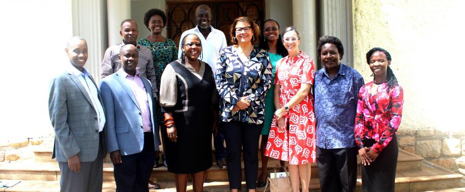 The Principal CHUSS-Dr. Josephine Ahikire (3rd Left) with AWMF President-Dr. Elizabeth Alexander (Centre), AWMF-Chief of Staff-Ms. Julie B. Ehrlich (3rd Right), CHUSS Deans and Mak Staff during the visit on 21st February 2020, Makerere University, Kampala Uganda.