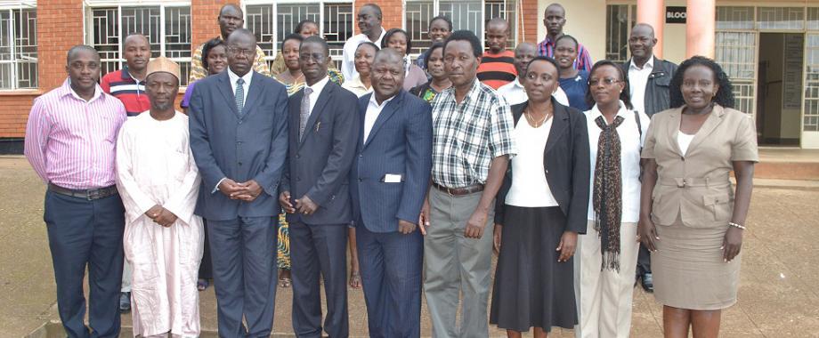 Dr. Muhammed Umar-Burutai (2nd L), DVCAA-Dr. Ernest Okello Ogwang (3rd L), Principal CHUSS-Prof. Edward Kirumira (4th L), Dr. Sani Aliyu (5th L), Prof. Edward Wamala (4th R) and partcipants in the AHP Application Preparation Workshop pose for a group photo at CoBAMS, 15th August 2014, Makerere University, Kampala Uganda
