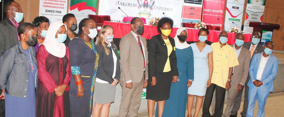 The Minister of ICT and National Guidance-Hon. Judith Nabakooba (7th R) and the Vice Chancellor-Prof. Barnabas Nawangwe (8th R) with the First Secretary Royal Norwegian Embassy in Kampala-Kjersti Lindøe, CHUSS leadership and Convention organisers at the launch of the event on 3rd May 2021, CTF2 Auditorium, Makerere University.