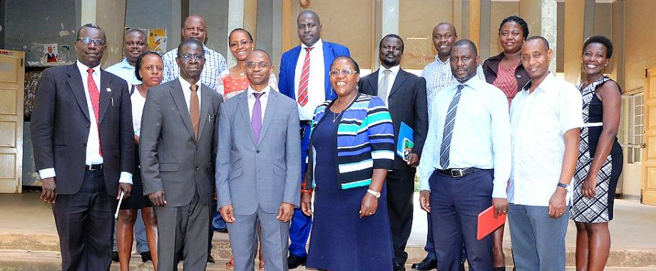 Front Row: The DVCAA-Dr. Umar Kakumba (3rd L) with L-R: Mr. Walter Yorac Nono, Outgoing Principal CHUSS-Prof. Edward Kirumira, Acting Principal-Dr. Josephine Ahikire, Dr Julius Kikooma and Dr. Aaron Mushengyezi with Deans and Members of CHUSS staff at the handover on 14th January 2019, Makerere University, Kampala Uganda