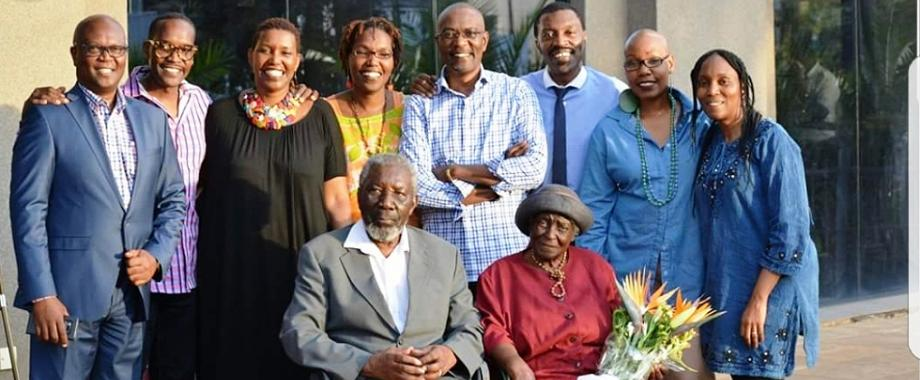 Prof. David Rubadiri (Seated Left) with his wife and members of his family. Makerere University held a commemorative lecture in the Main Hall on 12th October 2018