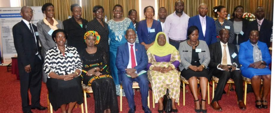 Guest of Honour and Minister of Gender, Labour and Social Development, Hon. Janat Mukwaya (Seated C), Prof. Barnabas Nawangwe (Seated 3rd L), Keynote Speaker-Ms. Ngone Diop (Seated 2nd L) and other participants at the Gender Statistics Forum, 14th November 2017, Imperial Royale Hotel, Kampala Uganda