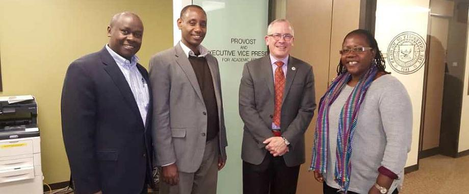 Dr. Josephine Ahikire (Right), Dr. Aaron Mushengyezi (2nd Left), Dr. Andrew State (Left) with Prof. James P. Holloway, Vice Provost for Global Engagement and Interdisciplinary Academic Affairs, University of Michigan (2nd Right). The study visits were undertaken with support of a Planning Grant from the Andrew W. Mellon Foundation.