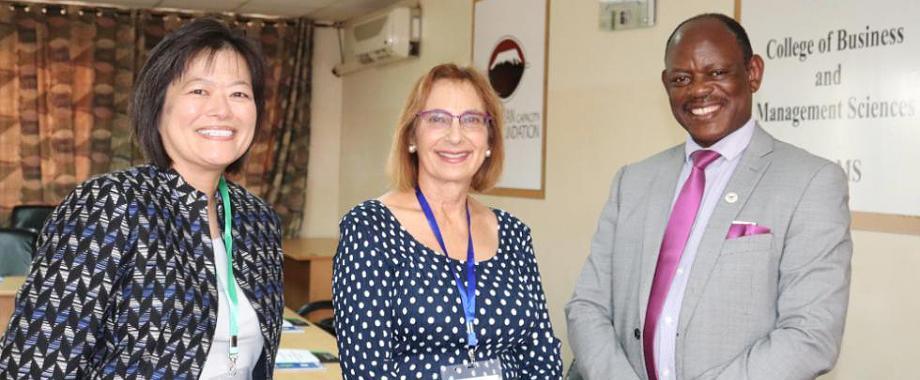 R-L: The Vice Chancellor-Prof. Barnabas Nawangwe, UC Berkeley's Dr. Robin Marsh and Pathfinder International's Ms. Sono Aibe at the PHE Workshop on 8th November 2018, Conference Hall, CoBAMS, Makerere University, Kampala Uganda