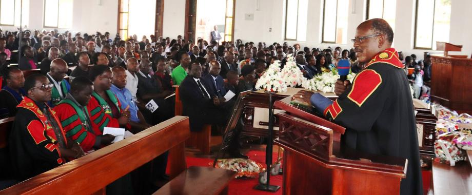 The Vice Chancellor-Prof. Barnabas Nawangwe (Right) addresses mourners during Prof. Johnson Acon's Funeral Service on 20th January 2020, St. Luke Church Ntinda, Kampala Uganda.