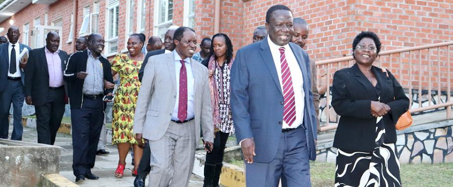The Chairperson, Makerere University Council-Eng. Dr. Charles Wana-Etyem (2nd Right) flanked by Members of Council and Management tours facilities at the proposed Mak Learning Centre at Katungu-Bushenyi on 5th December 2018. The proposed Centre will be under the College of Education and External Studies (CEES).