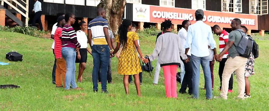 Students participate in a group activity at the Counselling and Guidance Centre (Opposite Mary Stuart Hall), Makerere University, Kampala Uganda. The CGC-MCFSP will be held from 21st - 22nd March 2019 at CTF2, CoBAMS.
