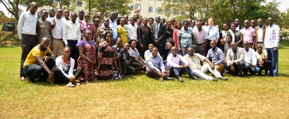 The Director DRGT-Prof. Buyinza Mukadasi (Centre Red Tie) poses for a photo with instructors and PhD Students at the launch of the two-week Advanced Research Methods cross-cutting Course on 20th January 2020, Freedom Square, Makerere University, Kampala Uganda.