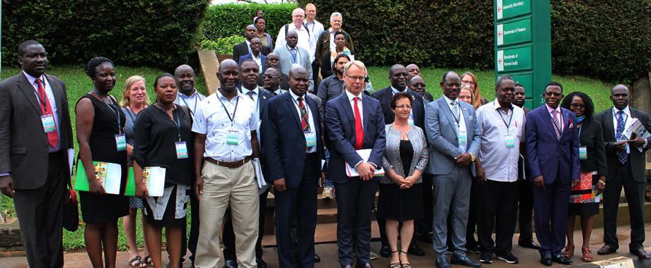 Swedish Ambassador-H.E. Per Lindgärde (6th Left), Vice Chancellor-Prof. Barnabas Nawangwe (5th R), ED UIRI-Prof. Charles Kwesiga (4th R), Dr. Gity Behravan (6th R), Prof. Buyinza Mukadasi (3rd R) with PIs and other officials at the Mak-Sida Annual Review Meeting, 30th September 2019, Makerere University, Kampala Uganda