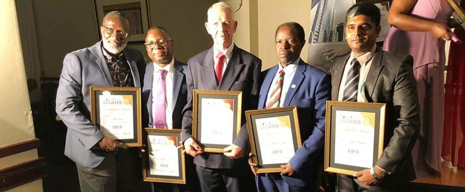 The Deputy Vice Chancellor (Finance and Administration), Prof. William Bazeyo (2nd R) poses for a photo with other CEO Global winners at the Dinner Gala held on 27th November 2018, Johannesburg, South Africa. Prof. Bazeyo scooped the Education and Training Continental Award.