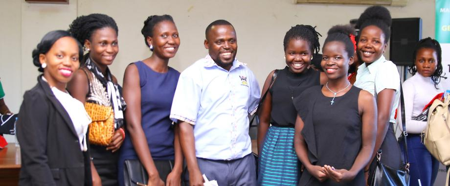 Mr. Eric Tumwesigye, Senior Gender Officer with some of the participants that took part in the Personal Branding Session organised by the Gender Mainstreaming Directorate (GMD) and facilitated by the Daniel Choudry Sales Institute on 18th April 2019, Senate Conference Room, Makerere University, Kampala Uganda