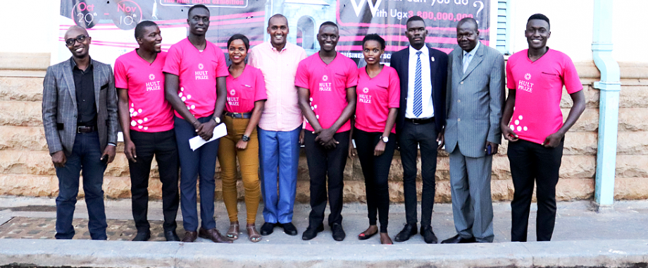 The Hult Prize at Makerere On-Campus Challenge Team poses for a group photo with Guest of Honour and  Minister of ICT and Communications-Hon. Frank Tumwebaze (5th L) DVCAA-Dr. Ernest Okello Ogwang (2nd R) and Mr. Arinaitwe Rugyendo (L) after the Grand Finale on 8th November 2018, Makerere University, Kampala Uganda