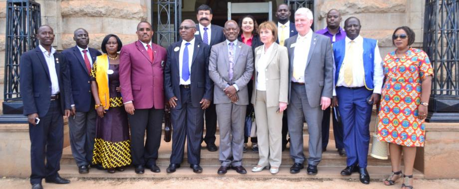 The Second Vice President of Lions Club International; Lion Gudrun Bjort Yngvadottir (4th R) and her spouse Dr. Jon Bjarni Thorsteinsson (3rd R), Deputy Vice Chancellor for Finance and Administration Prof. Barnabas Nawangwe (5th R) District Governor 411B (Uganda & Tanzania), 2016-17-Mr. Venie Tinkumanya (5th L) together with Lions during the visit on 7th February 2017, Makerere Univresity, Kampala Uganda