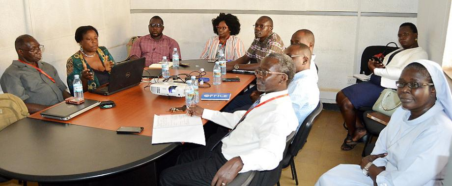 R-L: Prof. Dominica Dipio, Dr. William Tayeebwa and other CHUSS Staff join NC State's Dr. James Kiwanuka Tondo (L) and Prof. Juliana Nfah-Abbenyi (4th L) listen to a presentation by Prof. Goretti Nassanga (2nd L) during the Humanities Thematic Workshop Session hosted by the Department of Journalism and Communication on 12th March 2019, Makerere University, Kampala Uganda