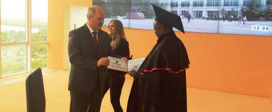 Prof. Barnabas Nawangwe (R) is bestowed upon the title Honorary Professor by the Rector of BSTU-Prof. Sergei Glagolev, 18th May 2017, Belgorod, Russia