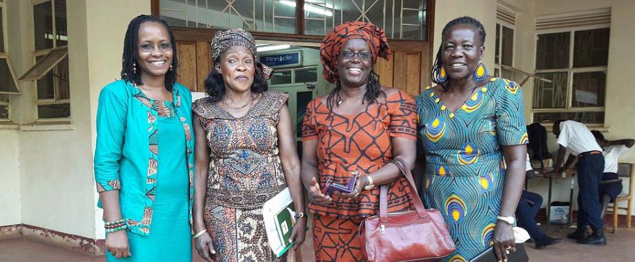 """L-R: Dean SWGS-Dr. Sarah Ssali, Hon. Betty Bigombe, Prof. Sylvia Tamale and Ms. Lina Zedriga Waru Abuku-Director, Women Peace and Security, RACI, after the Public Dialogue on """"Women in Peace Building"""". The dialogue was graced by Swedish Ambassador-H.E. Per Lindgärde and the Principal Legal Adviser on International Law, Swedish Ministry for Foreign Affairs and Special Representative for Inclusive Peace Processes-Amb. Dr. Marie Jacobsson delivered a presentation on the Swedish Feminist Foreign Policy"""