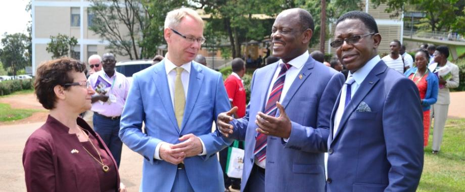 L-R: First Secretary Research Cooperation-Dr. Gity Behravan, Swedish Ambassador to Uganda-H.E. Per Lindgärde, Vice Chancellor-Prof. Barnabas Nawangwe and Director Research & Graduate Training-Prof. Buyinza Mukadasi interact during the Mak-Sida ARM Opening Ceremony, 2nd October 2017, Freedom Square, Makerere University, Kampala Uganda