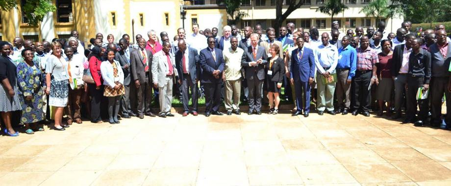 H.E. Amb. Per Lindgärde, 1st Secretary & Senior Research Advisor-Dr. Gity Behravan, Prof. Charles Kwesiga, Vice Chancellor-Prof. John Ddumba-Ssentamu, DVCFA-Prof. Barnabas Nawangwe, Director DRGT-Prof. Mukadasi Buyinza with participants in the Sida Annual Review Meeting at the launch on 10th Oct 2016, Main Hall, Makerere University, Kampala Uganda