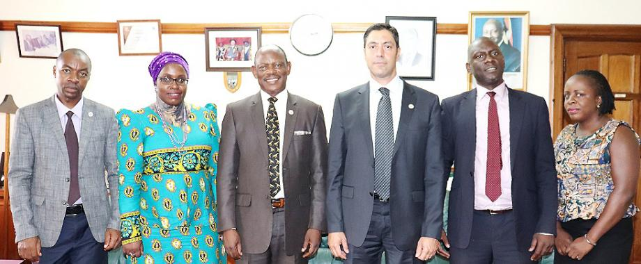 The new Turkish Ambassador to Uganda, H.E. Fikret Kerem ALP (3rd R), Vice Chancellor-Prof. Barnabas Nawangwe (3rd L) and the Acting Principal CHUSS-Dr Julius Kikooma (2nd R) with L-R: Mr. Gordon Murangira, Dr. Hawa Kasule and Ms. Hasifa Kabejja during the visit on 14th March 2019, Makerere University, Kampala Uganda