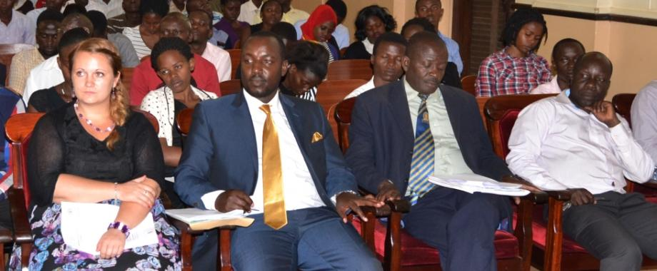 L-R: Ms. Maike Messerschmidt-KAS, Mr. Bruce Kabaasa-UNIFOG's Executive Secretary, Dr. Simba Kayunga Ssali-CHUSS and Dr. Tanga Odoi-CHUSS, attend the UNIFOG-KAS Panel Discussion on Decenralisation, 4th November 2014, Makerere University, Kampala Uganda