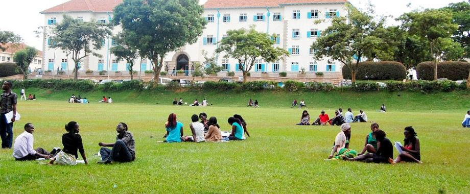 Students engage in group discussions, April 2013, Freedom Square, Makerere University, Kampala Uganda
